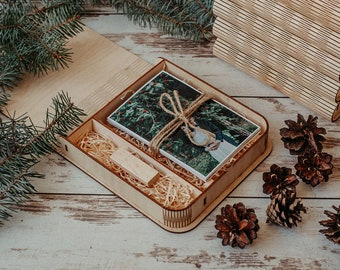 Wooden photo box for 4x6 photo packaging with compartment for USB | 15x10 cm photo and USB box