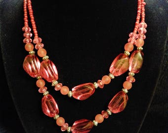 Red and Pink 2 Strand Beaded Necklace #13
