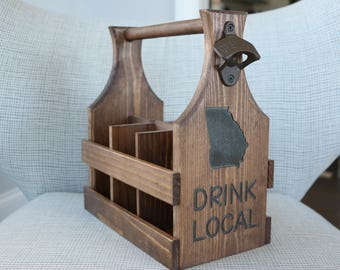 Handmade Wooden Beer Caddy/Wedding Gifts/State Beer Caddy