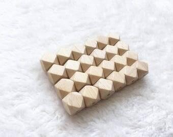30pcs DIY Germany beech geometric wood bead 15mm organic safe baby accessory teether hexagon wooden beads