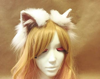 White Cat Fur Ears Headband