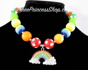 Rainbow with clouds - Bubblegum Necklace (Kids)