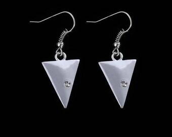 Silver Triangle Earrings,Geometric Triangle Dangle Earrings,Geometric Earrings,Geometric Jewelry,Silver Geometric Earrings Jewelry