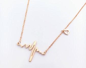 Heartbeat Jewelry,Heartbeat Necklace,Gold Heartbeat Necklace Pendant Jewelry,Cardiogram Heartbeat Necklace Jewelry
