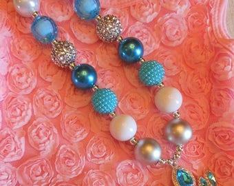 Elsa Necklace, Frozen Necklace, Elsa Bubblegum Necklace, Frozen Birthday, Elsa Chunky Necklace, Frozen Elsas Crown, Frozen Gift