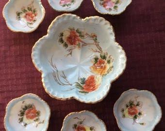 Antique 7 Piece Nippon Hand Painted Porcelain Nut Bowl Set Beaded Gilt Trim