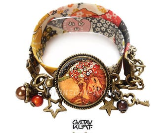 """Bracelet """" Les Serpents d'Eau """" cabochon bronze Gustav Klimt reproduction verre"""