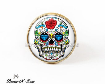 Ring bronze cabochon Mexican Skulls skull red white glass