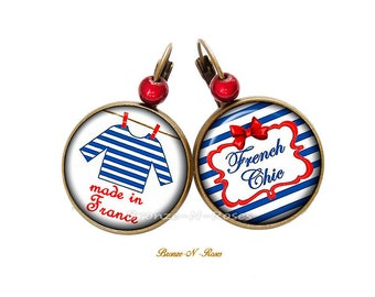 Earrings Made in France sailor blue and red striped sleeper sewing