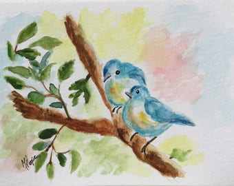 Birds greeting card/Blue birds/Watercolor Greeting Card/Blue birds watercolor/5 x 7 greeting card/Card and envelope/Nature greeting card