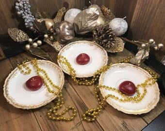 Vintage Trio of Theodore Haviland Limoges Saucers  - France - White With Gold Trim - Home Decor - Candle Holder
