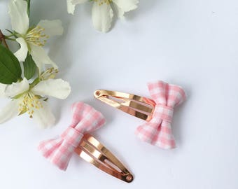 Hair clips, Gingham fabric hair clips, snap clips, rose gold clips, Hair accessories