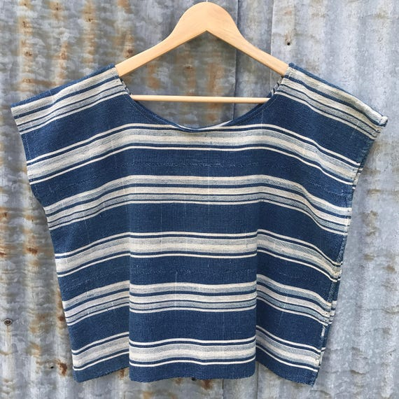 Indigo & Natural Striped Tee
