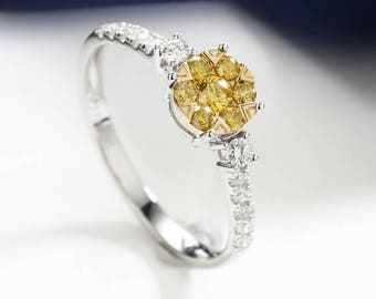 yellow diamond engagement ring rose gold unique wedding ring prong set dainty delicate micro pave birthstone - Yellow Diamond Wedding Rings