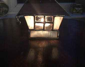 Stained glass house candle holder