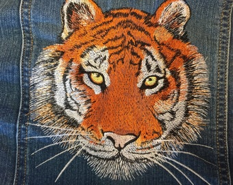 Large Tiger Patch, Tiger Embroidery Back Patch, Tiger Embroidered Patch, Embroidered Patches Tiger, Embroidered Patches Large, 7 x 7.5 inch