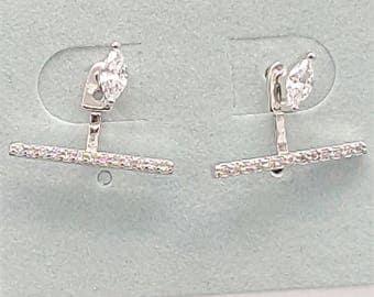 Diamond shaped Sterling Silver Earring Jacket