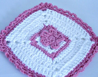 Crochet Hot Pad, White and Pink Hot Pad, Handmade Pot Holder, Flower Hot Pad, Floral Kitchen, Kitchen Decor, Handmade Hot Pad,Cotton Hot Pad