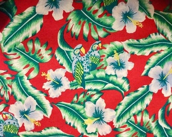 Hawaiian Shirt Size XL Christmas Hawaiian shirt Tropical Shirt Parrot Shirt Hibiscus Hawaiian Shirt Button Jungle Made In Hawaii Vintage Men