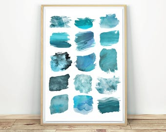 Watercolor Art - Turquoise Blue Decor, Home Decor Art, Abstract Art Print, Large Wall Art, Modern Printable Art, Print Abstraction