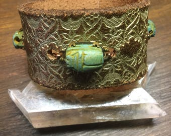 Vintage Tooled Leather with Scarabs Cuff Bracelet