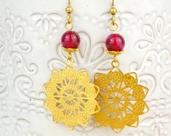 Hippy Earrings, Boho Earrings, Bohemian Earrings, Gemstone Dangle, Embossed, Dark Pink, Magenta, Long Earrings, Lace Earrings, Gold Boho