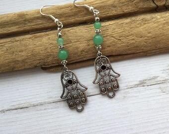 Abenturine Hamsa Dangle Earrings, Gemstone Earrings, Crystal Earrings M10