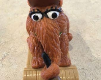 Christmas Themed - Snuffaluffagus Character - Vintage 1980's - Sesame Street - Riding on a Sled and Holding a Bell - Muppets Inc - Applause