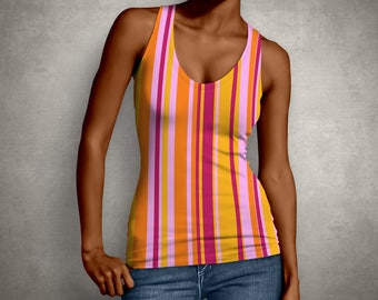 For Her, Stripes, Shirt, Wife Gift, Print, Top, Retro, Girlfriend Gift, Tank Top, Gift for Her, Tank, Yellow, Gift For Women, Pink