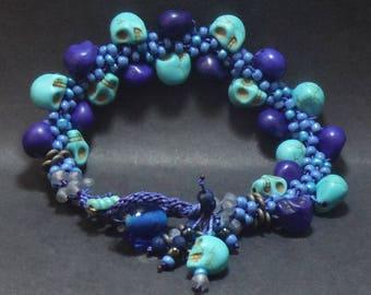 Flat Bracelet in Blue Skulls