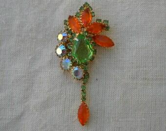 Orange Green Stone Spray Brooch, Vintage 60s, Aurora Borealis, AB Rhinestones, Gold, Glass Stone Brooch, Juliana Style