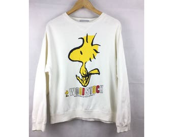 SNOOPY WOODSTOCK Long Sleeve Sweatshirt / Pull Over Medium Size With Big Full Print Cartoon Design