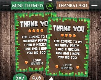 Mine Themed Thank You Card, Mine Themed Birthday, Thank You Card, Mine Themed Party, Mine Themed Invitation