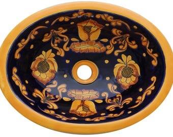 Clearance Sale 17u201d X 14u201d Talavera Mexican Sink Hand Painted Drop In Folk