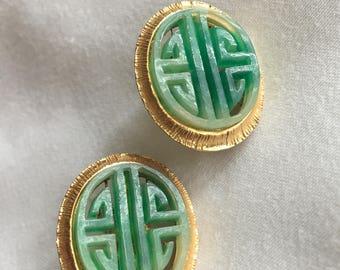 Vendome vintage, Asian-inspired clip earrings