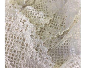 59 in Antique lace handmade trim cotton  linen wedding dress sewing