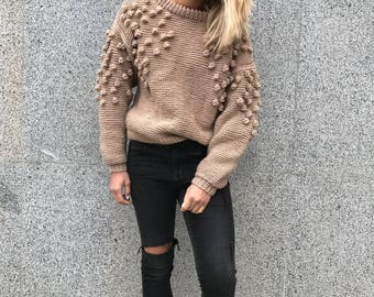 Hand knitted sweater wool brown clothing off shoulder sweater cable knit pullover women beige jumper oversized chunky sweater pom pom design