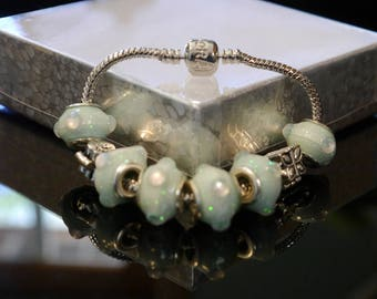 Genuine Pandora Lobster Clasp Bracelet with 6 Sea-Foam Paper Beads