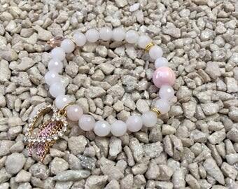 Pearl rose quarts Crystal heart charm bracelet