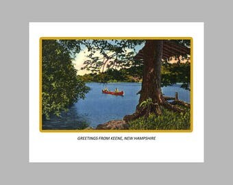 Postcard Print - Greetings From Keene, N. H. - 8x10 Poster Print, Also available in 11x14 and 16x20. Wall Decor, Art Print, Ready to Frame