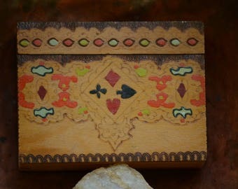 Vintage Hand Painted Wooden Playing Cards Box,Hand Crafted Wooden Box,Vintage Playing Cards Box,Old Playing Cards Box,Vintage Trinket Box