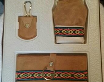 Vintage Navajo Leather Wallet Set