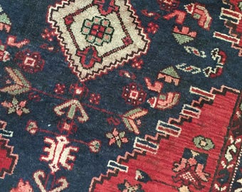 """Lucille // Antique Vintage Persian Rug 7'x3'4"""", Heriz bohemian red navy runner area rugs"""