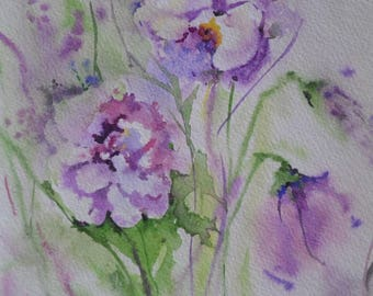 Watercolor Painting Original. Wall Art Decor.Handmade Watercolor . Flower Art. Nature. Purple violets