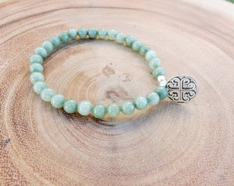 Green Aventurine Beaded Bracelet with Silver charm