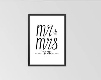 PERSONALISED engagement or wedding Print
