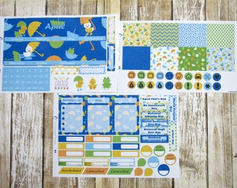 April Monthly Sticker Set, ERIN CONDERN, April Showers Monthly, Rainy day monthly