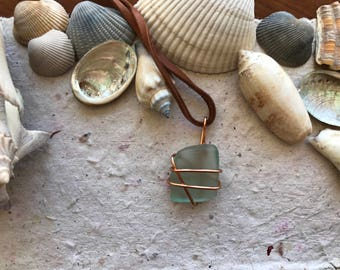 Teal Sea Glass Wrap Necklace