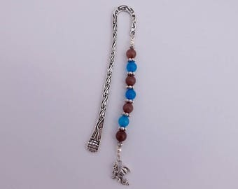 Bookmark blue and smoky jade - on request with name pendant
