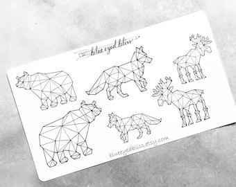 Geometric Woodland Animal Stickers